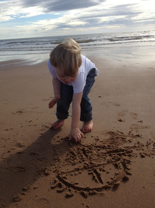 Pictures in the sand at Balmedie